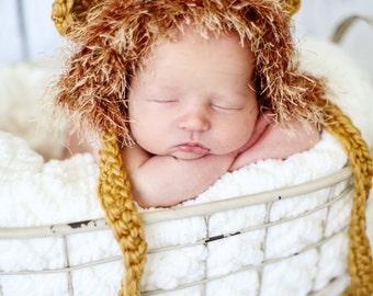 Crocheted baby lion hat, crochet baby hat, newborn gift, baby hat, Lion hat, photo prop