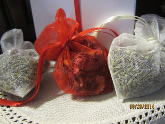 Lavender and rose filled sachets and gift wrapped box