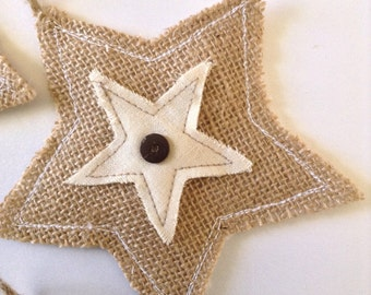 Burlap Stars Ornaments - Burlap and Muslim Fabric Stars - Stars Handmade Ornaments ( set of 4 )  Burlap Christmas Stars