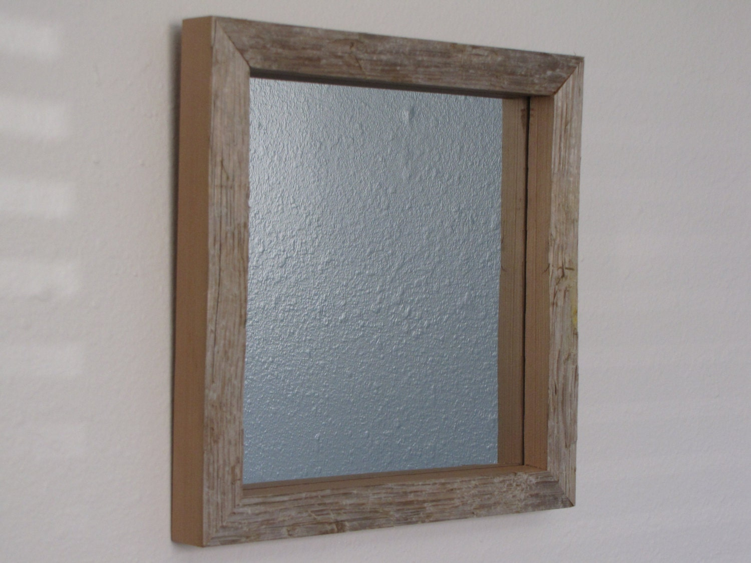 weathered driftwood mirror frame wood by theoldplankwoodworks