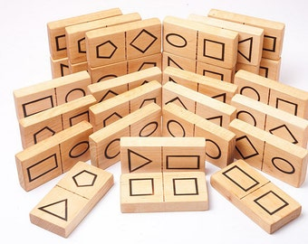Wooden domino game, geometric shape dominoes, eco friendly toy, kids wooden toys, waldorf toy