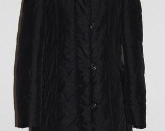 vintage j gallery black knee length puffy coat/ j gallery collared winter coat/ knee length black winter coat small/medium