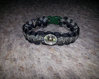 Military Branch Paracord Bracelet with Charm