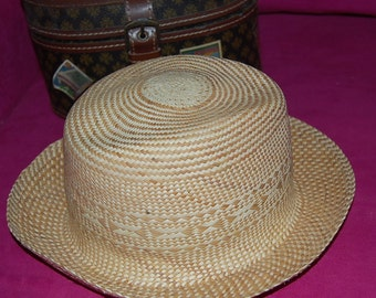 Authentic Panama Hat From Becal Yucatan-Medium Tan with Woven Design-Made in Underground Cave