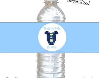 Personalized baby boy little man shower Water Bottle Labels (DIY) Printable