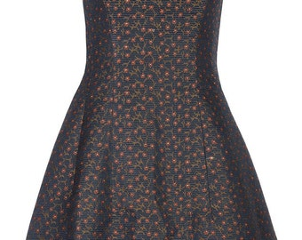 Midnight floral printed tulip dress