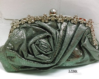 Gray color~New Shinny Satin Rose~Gorgeous Bridal Evening Clutch Bag