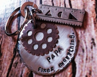 PaPa/daddy stamped metal keychain