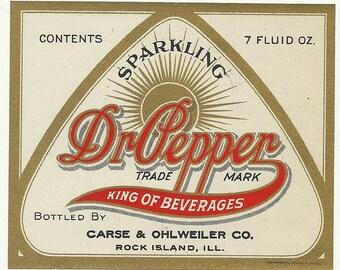 Vintage Original Unused 1920's Dr. Pepper Soda Bottle Label Carse & Ohlweiler Co. Rock Island, Illinois