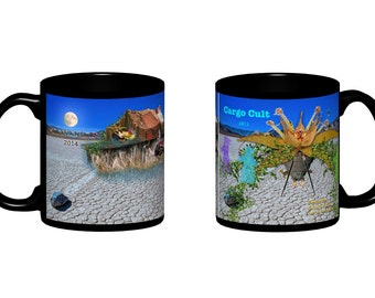 Mug with black background, includes two designs, BM 2014 & 2013 theme art.