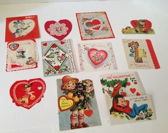 Vintage Valentines from the Forties Lot of 11