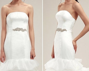 Made by hand manual beading wave special design asymmetric wedding dress translucent belt sash bridal accessories