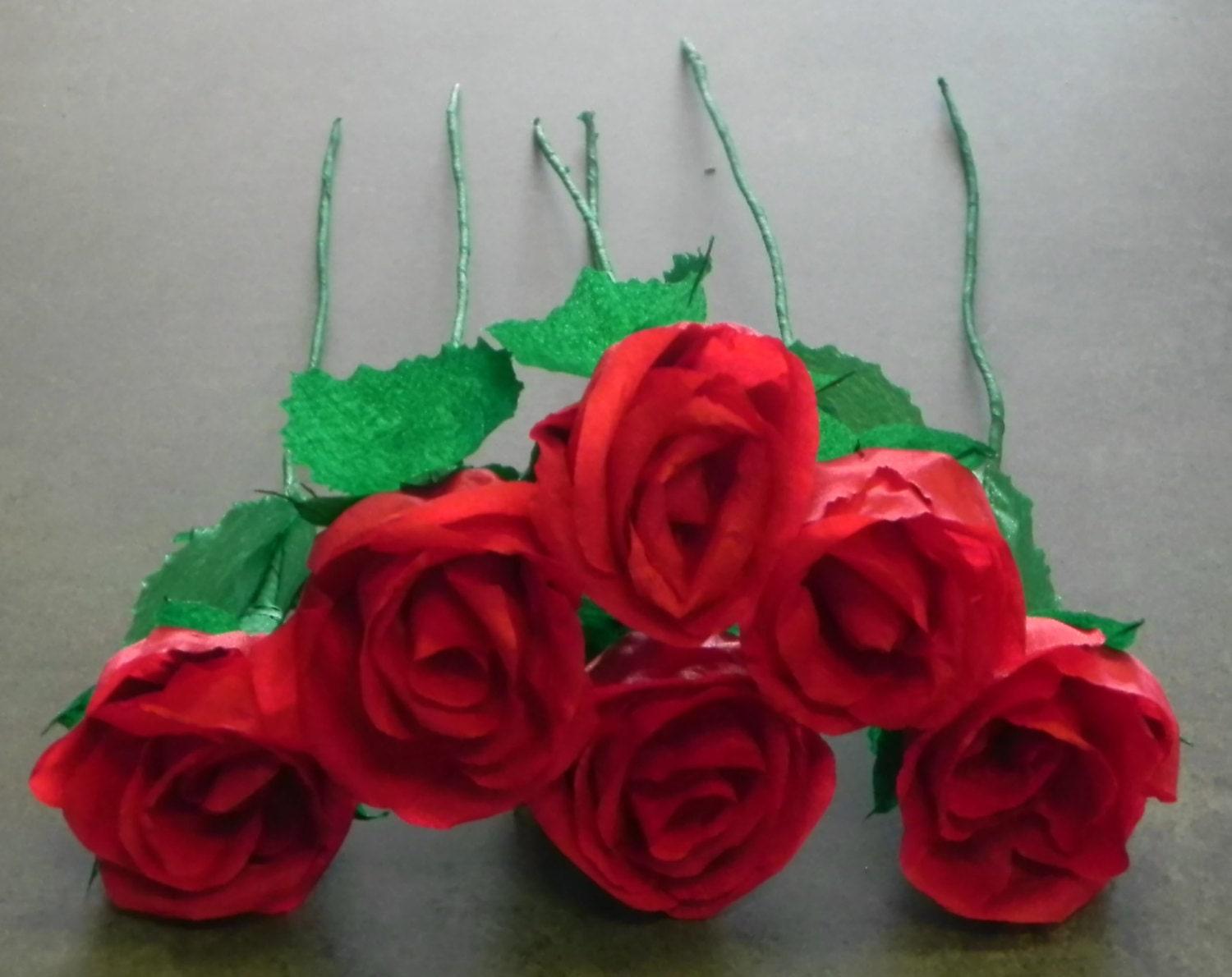 Mexican Crepe Paper Flowers Set of 6 Red Roses By Julia