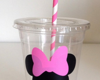 12 Red or Pink Minnie Mouse Party Cups with Lid and Straw, Minnie Mouse Birthday Cups, Mickey Mouse Clubhouse
