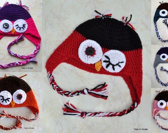 Winking Owl Hat - Owl Hat - Crochet Owl Hat - Custom Crochet Owl Hat - Owl Hat for Girls - Owl Hat for Boys - Baby Owl Hat - Newborn Owl Hat
