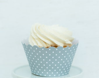 Shiny Silver Dot Cupcake Wrappers