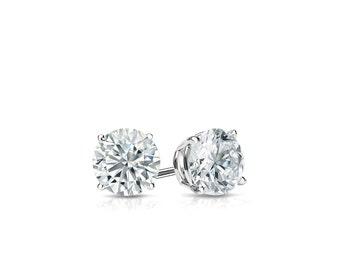 14k Gold 4-Prong Basket Round Diamond Stud Earrings 0.25 ct. tw. (H-I, I2)