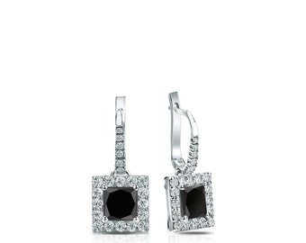 14k Gold Dangle Studs Halo Princess-Cut Black Diamond Stud Earrings 0.50 ct. tw.