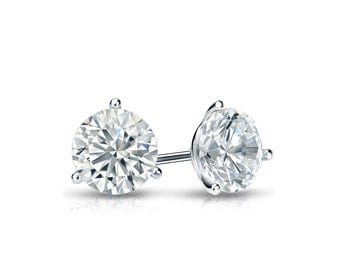 14k Gold 3-Prong Martini Round Diamond Stud Earrings 0.50 ct. tw. (H-I, I1)