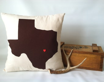 Texas Pillow - 16 x 16, One, Texas Heart Pillow, Texas Decor, Lone Star State Pillow, I Heart Texas Pillow, Rustic Pillow