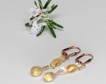 Citrine and rutilated quartz earrings golden earrings with natura color, rose gold earrings, citrine earrings, rutilated quartz earrings