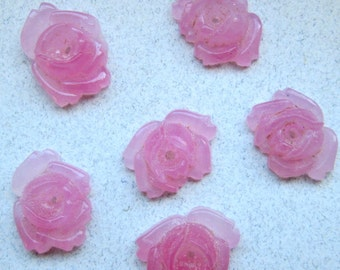 6 Vintage Pink Glass Rose Cabochons with Center Hole