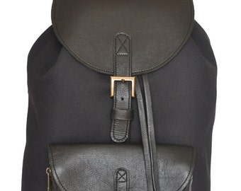 Genuine Leather and Black Canvas Backpack