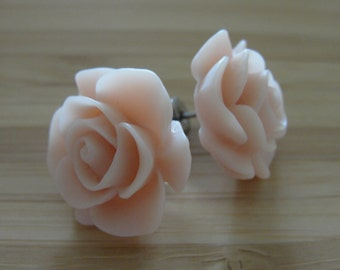 Large Beige Flower Earrings
