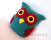 Blue and Pink Crochet Plush Owl