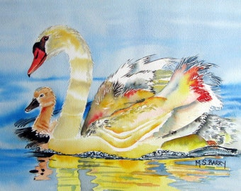 Swans: Mom and Baby- Watercolor print of mother and baby swans from an original piece of artwork.