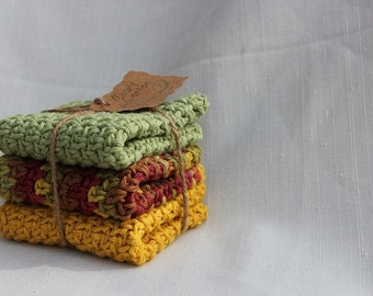 Crochet Dishcloths, Washcloth, Spa Cloth, Set of 3 Cotton Crocheted Dishcloths, Fall Decor, Autumn Colors, Gifts Under 20.00