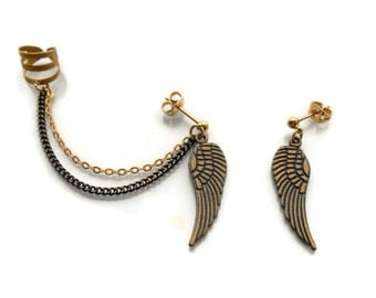 Wing Ear Cuff Earrings, Boho earrings, Cuff earrings with antique wings