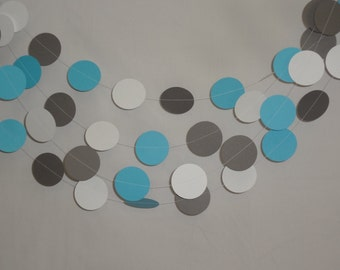 Wedding Paper Garland White, Grey, and Turquoise