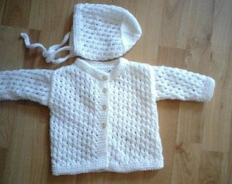 Sweet knitted baby jacket with hat in white, handmade