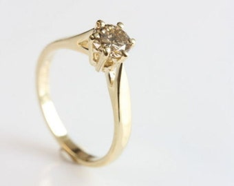 Engagement Ring, Diamond Ring 0.40 Carat 14K Yellow Gold Diamond Ring, Women Jewelry, Women Ring, Custom Size