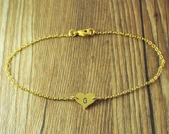 Custom Gold Heart Anklet - Silver Single letter Anklet - Beach Jewelry - Friendship ankle bracelet - Personalized Engraved Anklet