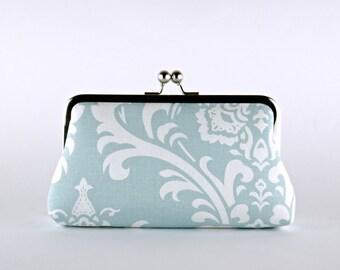 Bridesmaid Clutch, Baroque in Aqua Clutch, Silk Lining, Bridesmaid Gift, Wedding clutch, Aqua and Natural collection