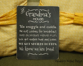 Grandma's House Rules, Wooden Sign, Personalized Gift For Grandma, Mother's Day Present Idea, Gifts for Her, Chalkboard Sign, Wall Art, 8x10