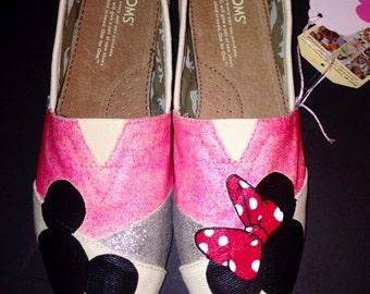 Custom Disney Toms - Pink/Silver Glitter