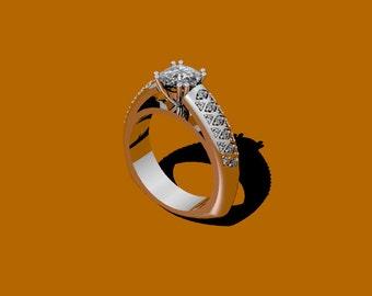 Diamond Engagement  Forever One Moissanite Engagement Ring 14K White Gold Ring Diamond Alternative Ctr Bridal Jewelry Marriage Gifts- V1041