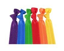 Hair Tie Bracelets Elastic Hair Ties in Rainbow's Colours 6 pcs Ribbon Ponytail Hair Accessory Elastic Hair Tie Bracelets FOE Wholesale Ties