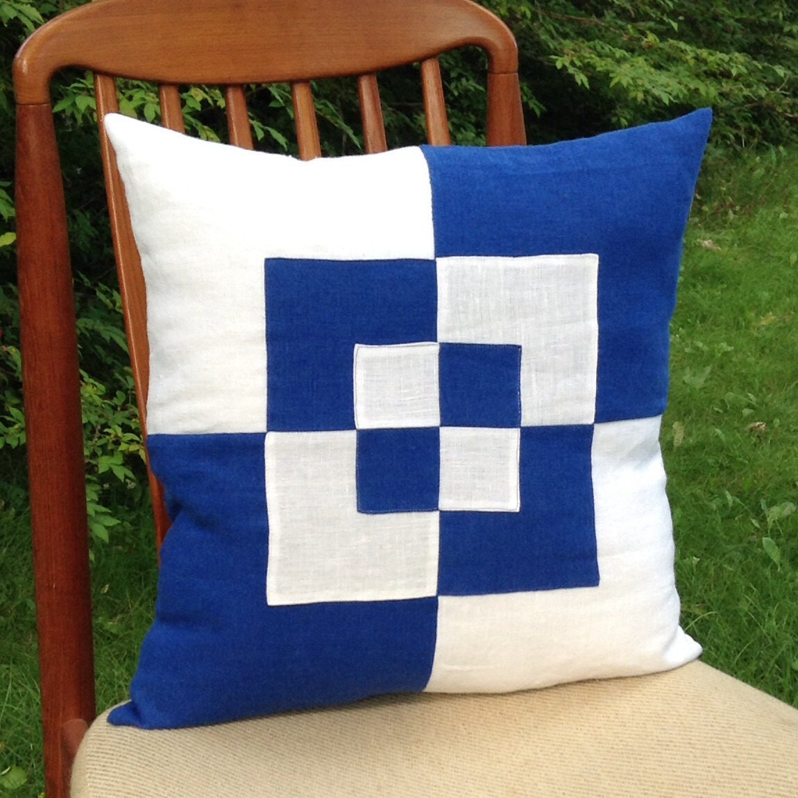 Royal Blue And White Throw Pillows : Decorative linen pillow cover royal blue and by AnnnoeDesigns