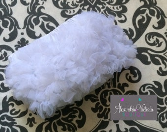 WHITE BABY BLOOMER, chiffon ruffle diaper cover, photo prop, newborn ruffle bloomer-ready to ship!