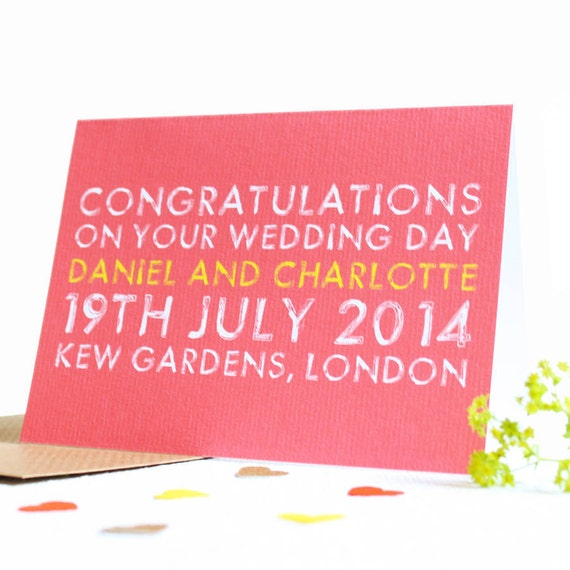 Wedding Day Gift Card : Wedding Day Card, Wedding Gift, Personalised Wedding Card, Wedding Day ...