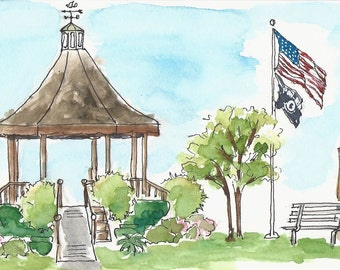 Watercolor print, matted and framed, Vestal Veterans Gazebo