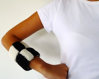 Hand knitted bracelets in black and white. Statement bracelets. Knitted modern jewelry. Gift idea for her. Unique handmade bracelets