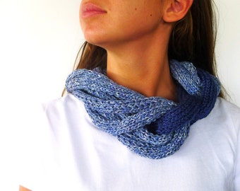 Hand knitted cowl in blue. Braided infinity scarf. Knit neck warmer. Multistrand necklace. Big statement necklace. Winter accessories