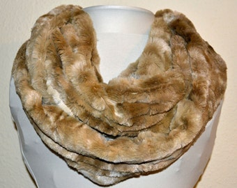 FREE SHIPPING! Minky Light Brown Faux Rabbit Fur Infinity Scarf, Soft and Warm, Ready to Ship!