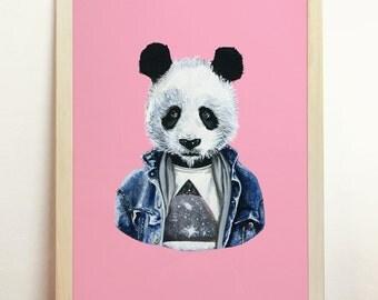 Panda Art Print - Giclee Poster Wall Art Draw Original Painting - A4 - 8.3 x 11.7 in - 210 x 297 mm - Prints Shop