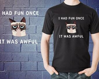 Grumpy Cat I Had Fun Once It Was Awful Meme T-shirt Funny Cat Tee